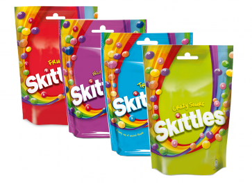 Skittles Variety Pack, Tropical, Crazy Sours, Fruits, Wild Berry, (4 x 196g) Probierpaket